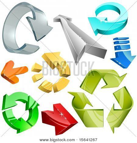 Vector collection of color plastic, metal and glass 3D arrows.