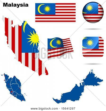 Malaysia vector set. Detailed country shape with region borders, flags and icons isolated on white background.