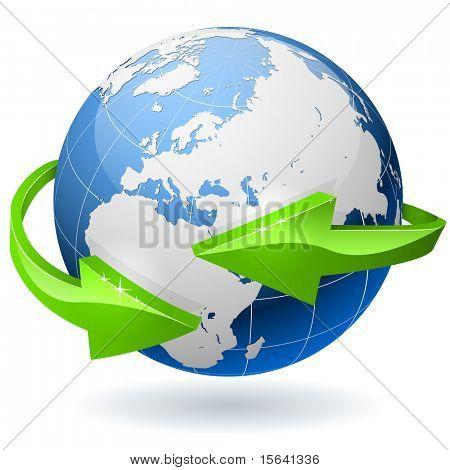 Erde-Weltkugel, umgeben von radialen Pfeile. EPS10-Datei.