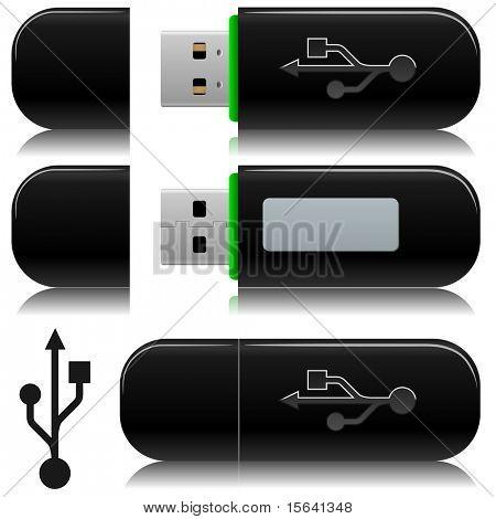 Portable usb flash  drive vector illustration with standard USB symbol.