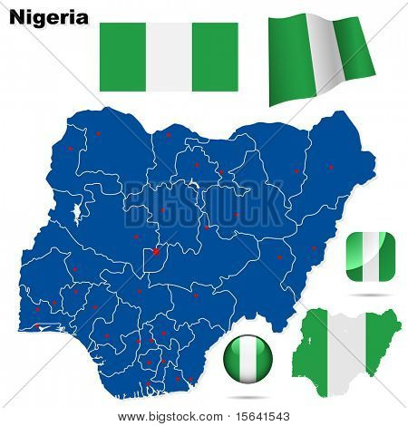 Nigeria vector set. Detailed country shape with region borders, flags and icons isolated on white background.