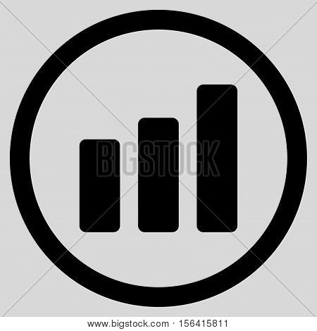 Bar Chart Increase vector rounded icon. Image style is a flat icon symbol inside a circle, black color, light gray background.