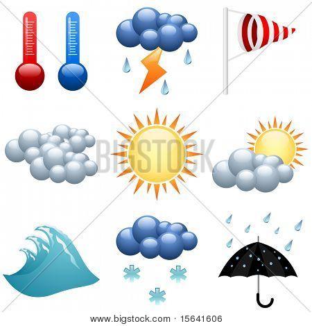 Wetter Icons set für Prognose-Webseiten. EPS10-Datei.