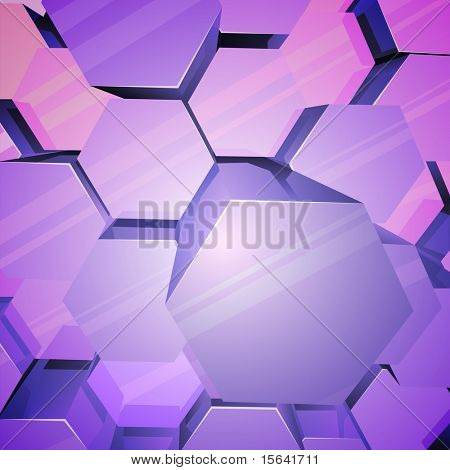 Violet shiny hexagons 3D vector background.