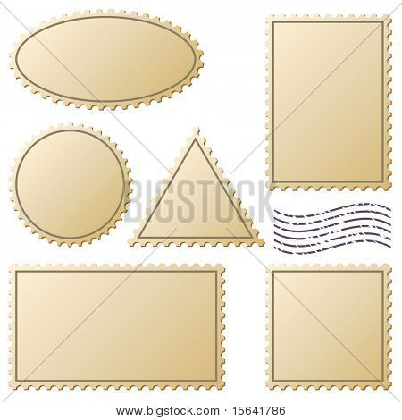 Aged postage stamps vector set isolated on white.