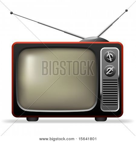 Retro TV set realistic vector illustration.