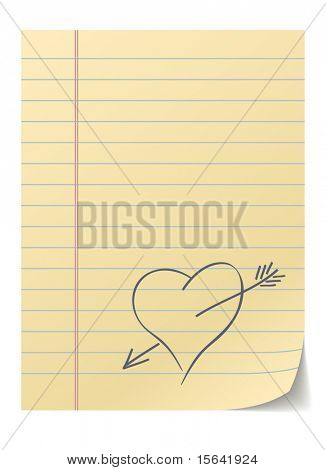 Blank lined page with hand drawn heart - love message.