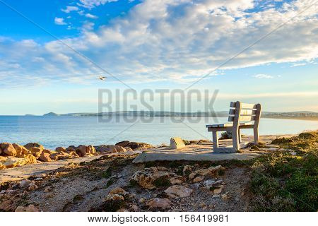 Bench with picturesque view at Port Elliot Horseshoe Bay South Australia