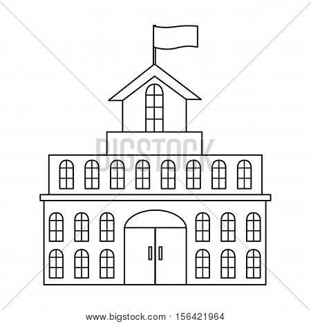 Government icon in outline style isolated on white background. Building symbol vector illustration.