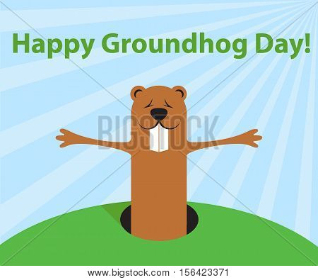 Groundhog day funny cartoon character of marmot wait spring. Flat design. Vector illustration.