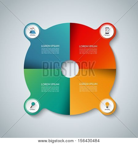 Vector infographic elements. Circle business template with 4 options, parts, steps or segments. Can be used for diagram, graph, presentation, chart, report, data visualization, web design