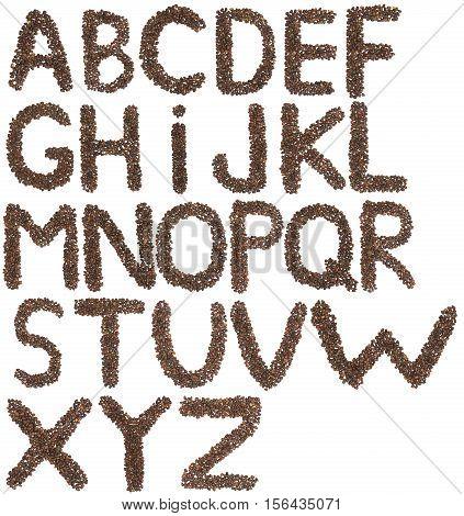 full English alphabet made of cedar nuts on white
