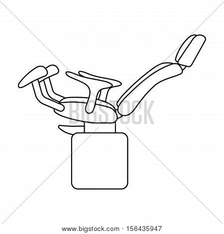 Gynecologic chair icon in outline style isolated on white background. Pregnancy symbol vector illustration.