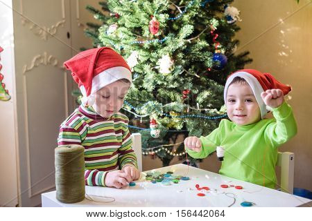Kids Brothers Child Boys Making By Hands X-mas Decorations