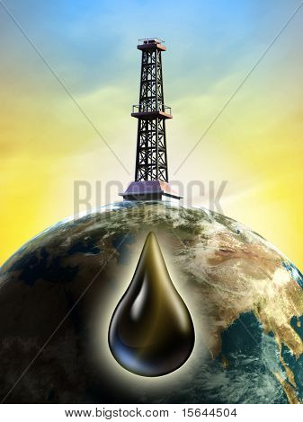 Conceptual image showing a derrick tower drilling the earth for oil. Digital illustration.