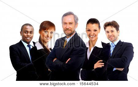 Business team and a leader - Mature business man with his colleagues in the background