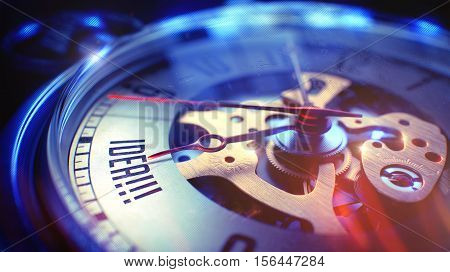 Pocket Watch Face with Idea Wording on it. Business Concept with Light Leaks Effect. Idea. on Pocket Watch Face with CloseUp View of Watch Mechanism. Time Concept. Lens Flare Effect. 3D Render.