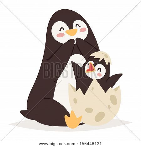 Penguin vector illustration character. Cartoon funny penguin cute character isolated. Penguin vector cute bird posing. Holiday penguin mother and baby kid
