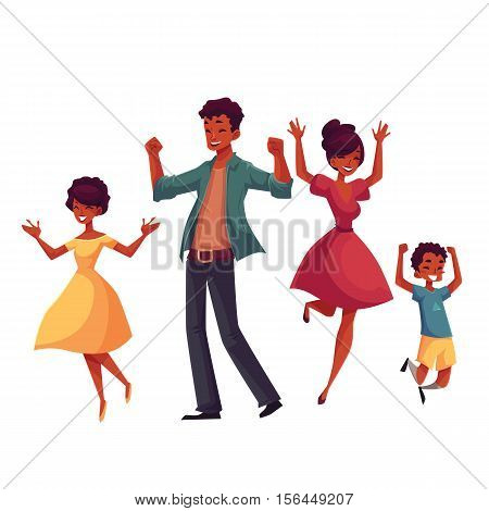 Cheerful black family jumping from happiness, cartoon vector illustrations isolated on white background. Happy African American family of father, mother, sister and son jumping in excitement