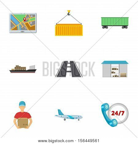 Logistic set icons in cartoon style. Big collection of logistic vector symbol stock