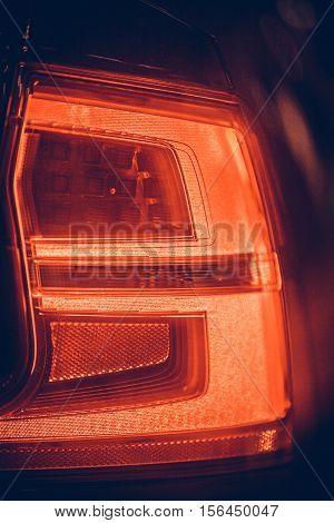 Close up shot of a modern car rear lights.