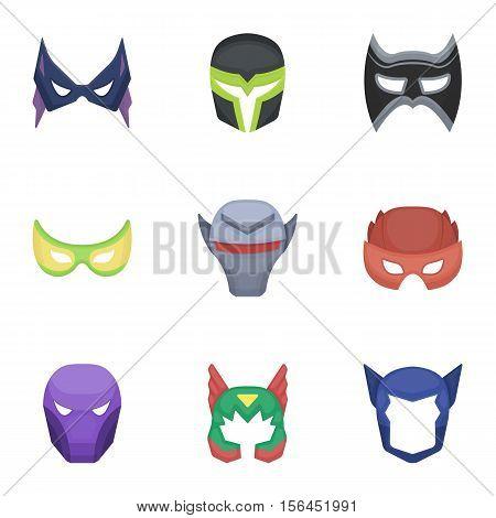 Superhero mask set icons in cartoon style. Big collection of superhero mask vector symbol stock
