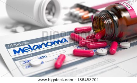 Melanoma Text in Disease Extract. Close View of Medical Concept. Melanoma - Handwritten Diagnosis in the Medical History. Medical Concept with Red Pills, Close Up View, Selective Focus. 3D Render.