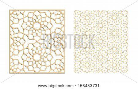 Laser cutting set. Woodcut vector panel. Plywood lasercut eastern design. Hexagonal seamless pattern. Stencil ornament.