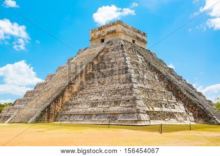 Temple of Kukulkan pyramid in Chichen Itza Yucatan Mexico
