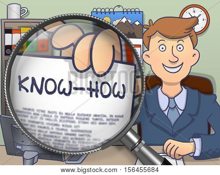 Know-How. Officeman Holds Out a Text on Paper through Magnifier. Colored Modern Line Illustration in Doodle Style.