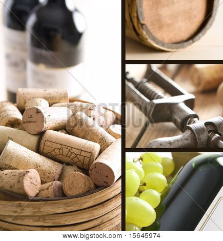Red wine, corks and old corkscrew