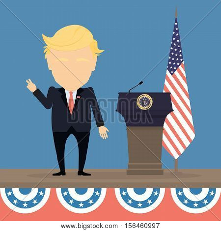 Russia November. 08, 2016 Donald Trump with american flag and tribune. New american president is Donald Trump.