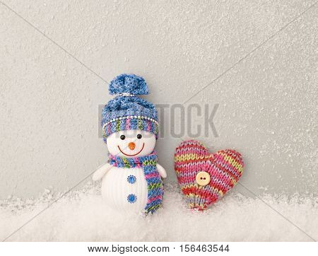 Christmas New Year 2017. Happy Snowman, Design Heart Handmade. Christmas holiday winter, Valentines. Christmas Snowman Fun Festive Art christmas Greeting Card, Love concept Snowman, Valentines Day.