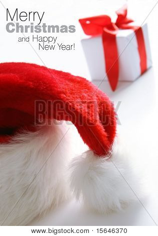 Santa hat next to gift