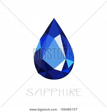 Illustration of sapphire on white background. Precious stone.