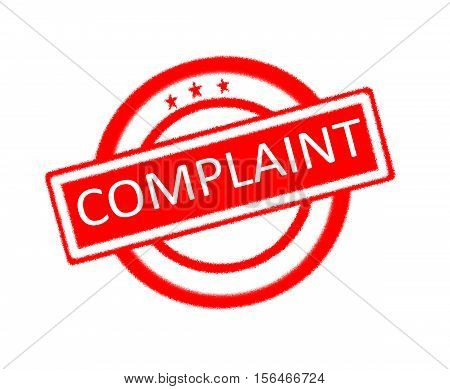 Illustration of complaint word written on red rubber stamp