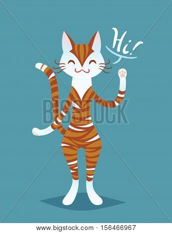 Cute smiling cat lady say Hi. Funny ginger striped cat standing on hind legs, waving her paw and saying Hi. Vector illustration in flat cartoon style for your design, artwork, print and web page.