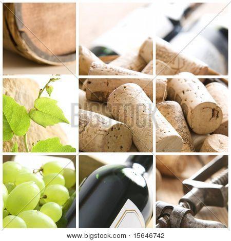 vino, uva, corchos y sacacorchos