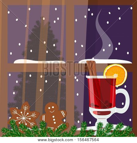 Christmas decorated room with window with hot mulled wine. Flat style vector illustration. Comfortable vista with hot wine punch, gingerbread man, green garland, curtains. For postcards, greetings