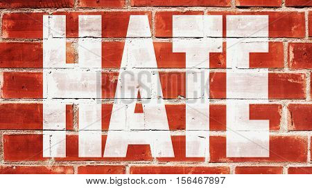 Hate Written On A Red Brick Wall