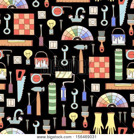 Vector seamless pattern with hand drawn colored tools for repair on black color. Symbols of repair. Background for use in design, packing, web site, fabric
