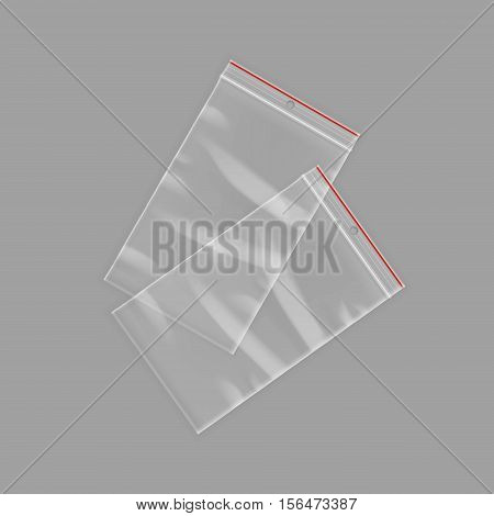 Vector Sealed Empty Transparent Plastic Zipper Bags Close up Isolated on Background