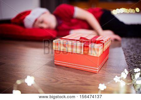 Little Boy Fell Asleep While Waiting For Santa Claus
