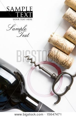 Cover for a winery menu. Bottle of red wine, corkscrew, corks. Space for text isolated on white.