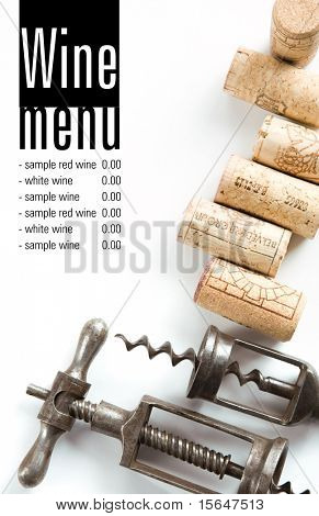 Winery menu project. Unique old corkscrews, corks. Space for text isolated on white.