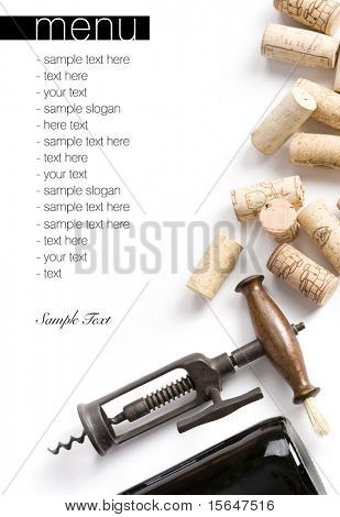 Winery menu project. Unique old corkscrew, corks and bottle of wine. Space for text isolated on white.