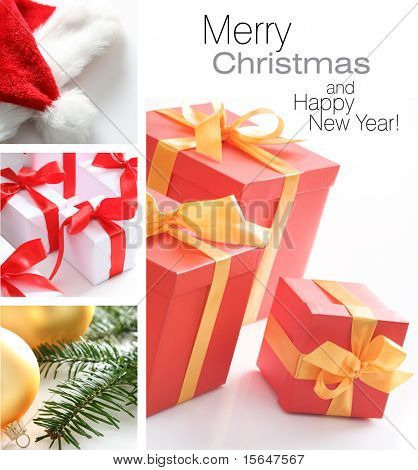 Christmas collage. Red presents with golden ribbon, santa hat, white gift boxes with red ribbon fir tree and golden glass balls