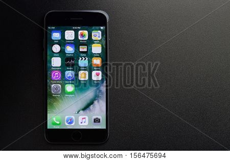Bangkok Thailand - November 2 2016: iPhone 7 showing application screen on black background new iPhone 7 is manufactured by apple Inc.