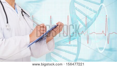 Doctor writing on clipboard against blue spiral dna pattern on screen