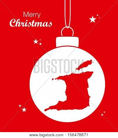 Merry Christmas Map Trinidad and Tobago illustration high res